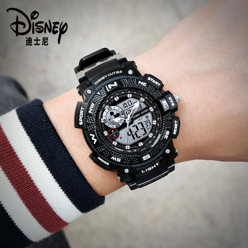 Disney Mickey Mouse Children's Digital Wristwatch Boy Sports Waterproof Men's Watch Kids Watches Boys 3Bar Rubber Dual Display