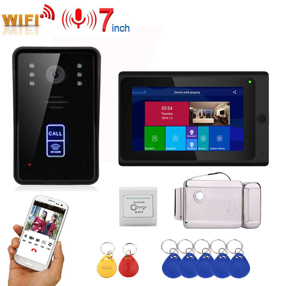 7inch Wireless Wifi RFID Video Door Phone Doorbell Intercom Entry System With Home Stainless Steel Electronic Door Lock For Vide