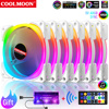 Coolmoon 120mm 5V ARGB Cooling Fan Mute PC Computer Case Cooler With IR Remote Heat sink PWM RGB Radiator For Gamer Cabinet Fans