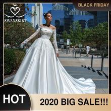 Swanskirt элегантное атласное свадебное платье с аппликацией 2020 кружевное ТРАПЕЦИЕВИДНОЕ платье для невесты принцессы Vestido de Noiva F135