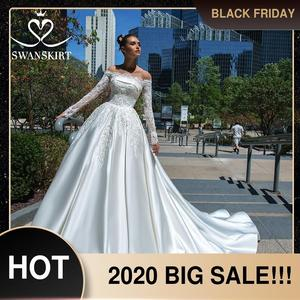 Image 1 - Swanskirt Vestido de novia de satén con apliques elegantes, cuello Barco, manga larga de encaje, línea A, Vestido de novia Princesa, F135 Vestido de novia, 2020