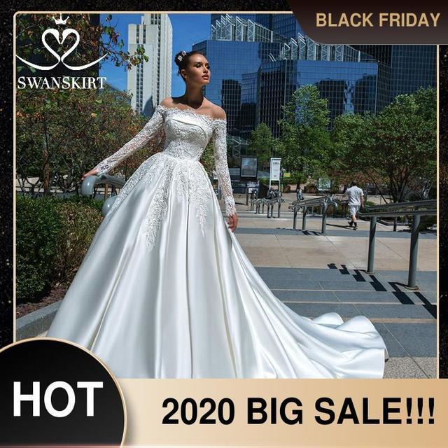 Swanskirt Vestido de novia de satén con apliques elegantes, cuello Barco, manga larga de encaje, línea A, Vestido de novia Princesa, F135 Vestido de novia, 2020