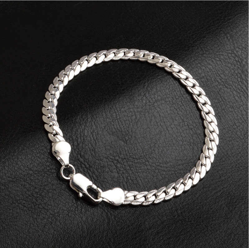 1 adet 5mm genişlik moda yılan gümüş kaplama bilezik takı kadın erkek zarif bilezikler
