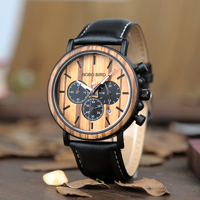 Image 3 - BOBO BIRD Wood Watch Men Stopwatch Chronograph relojes hombre Show Date Wooden Quartz Wristwatch Male Timepieces In Gift Box-in Quartz Watches from Watches
