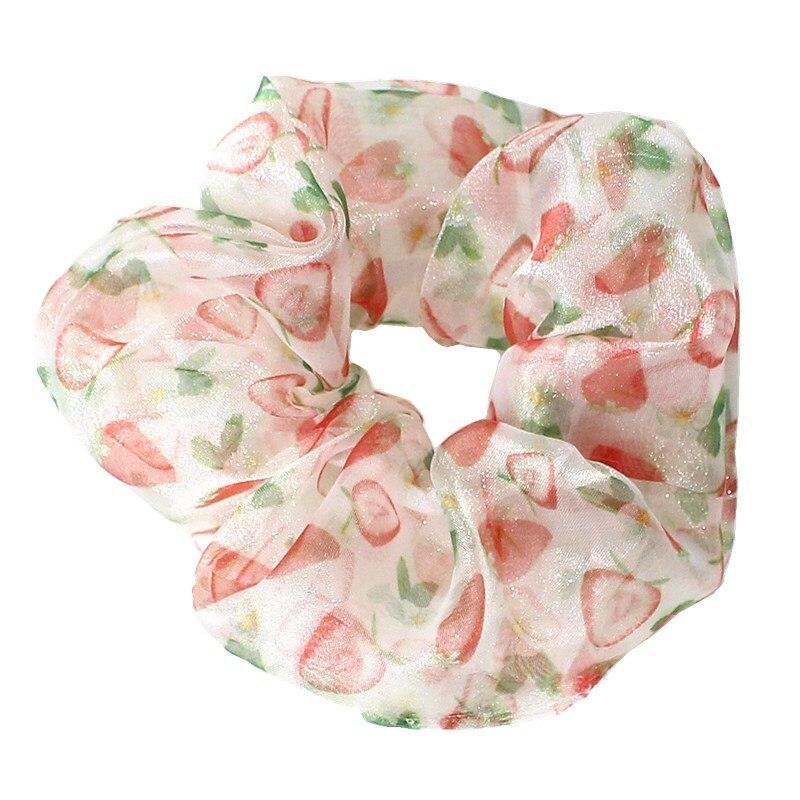 New Fashion Women Fruit Print Organza Hair Scrunchies Lovely Vintage Elastic Hair Band Shiny Ponytail Holiday Retro Headband