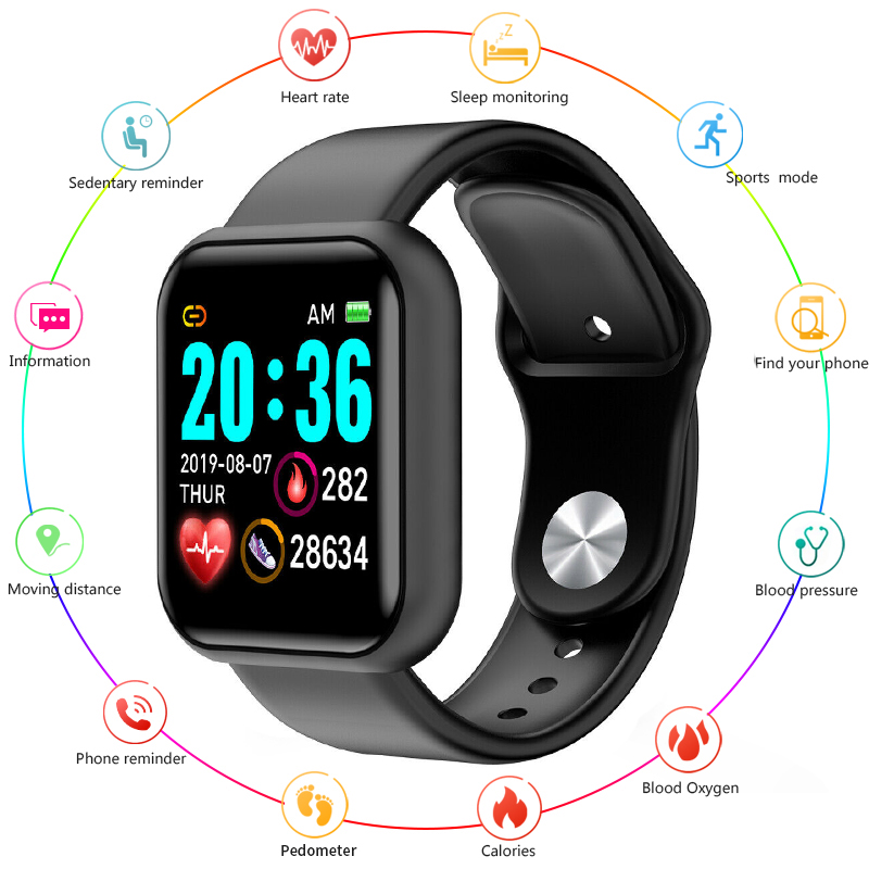 D20pro Bluetooth Smart Watch Waterproof Sport Smartwatch Heart Rate Monitor Blood Pressure Tracker Fitness Watch For IOS Android