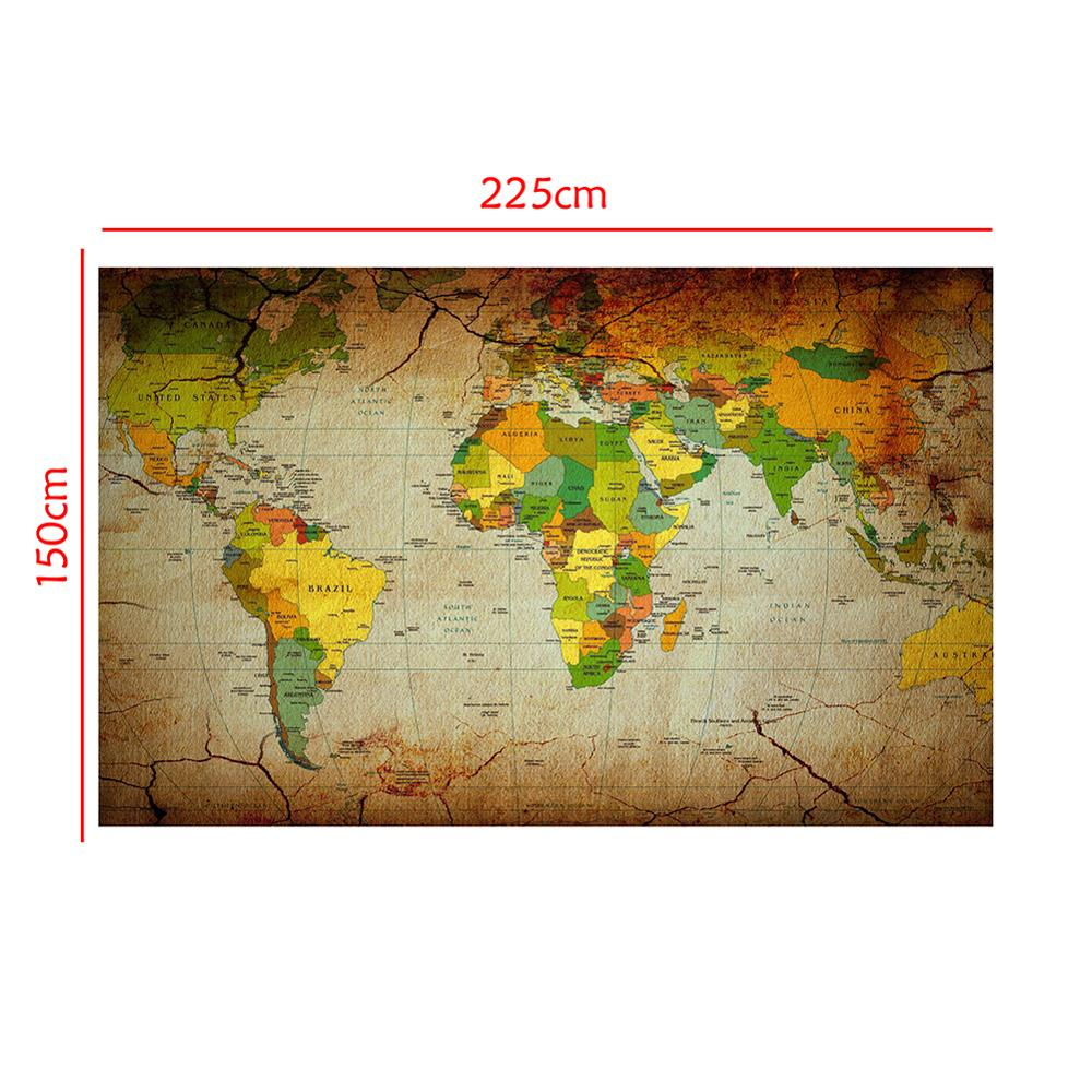 150x225cm Retro Style Non Woven World Map Kraft Style Ancient Map For Collection And Decoration