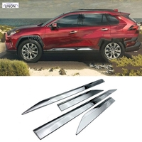 new ABS Chrome Door Body Molding Fit For Toyota RAV4 2019 2020 Door Body Anti scratch Protector Car Side Strips Trim Cover