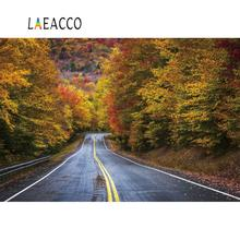 Laeacco Autumn Backgrounds Tree Maples Foliage Driving In Straight Way Party Scenic Photo Backdrops Photocall