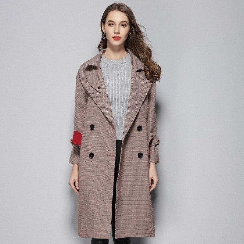 High Quality Brand Trench Coat Fashion Lapel Collar Double Breasted Womens Coat Streetwear Slim Fit Belt Windbreaker Female