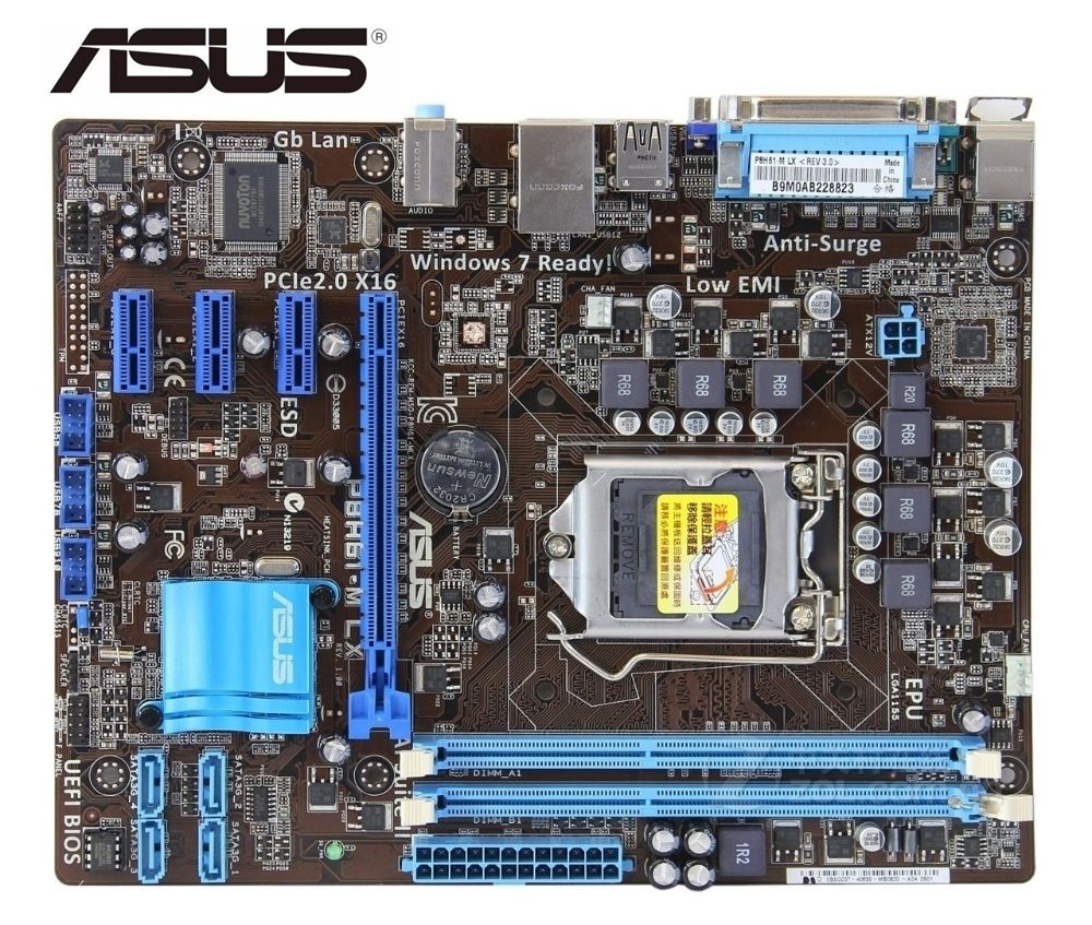 ASUS P8H61-M LX Motherboard  DDR3 LGA 1155 USB2.0 For Intel  H61 Desktop Motherboard  Pc Mainboard