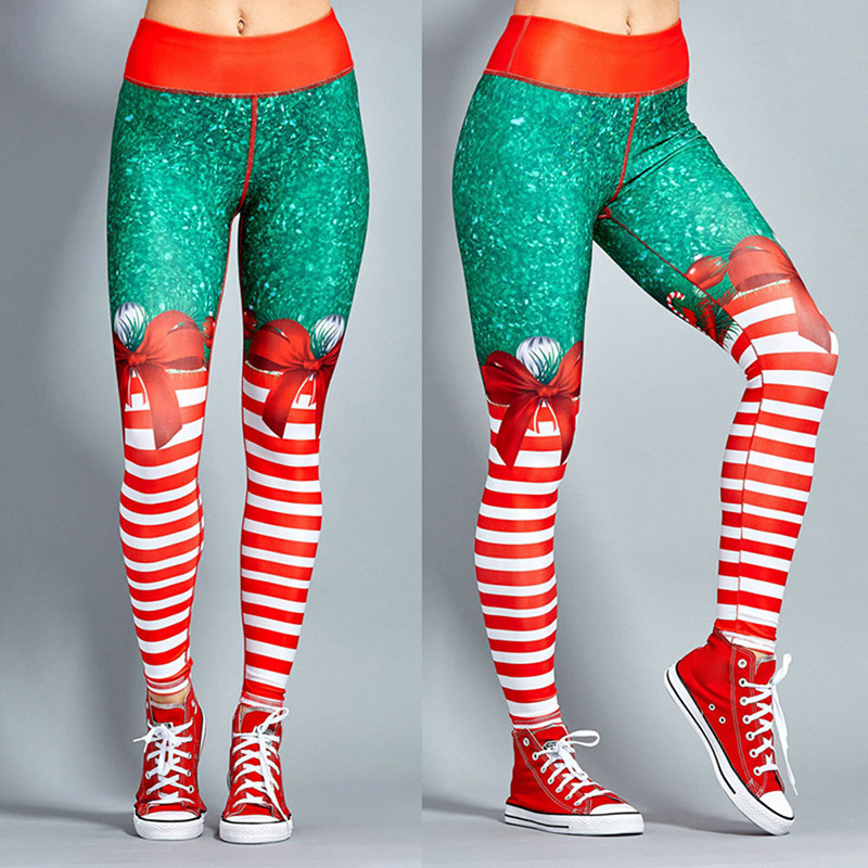 Hot Womens High Waist Yoga Pants Printed Christmas Sports Fitness Athletic Leggings Trouser MCK99