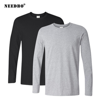 2Pcs/lot 2020 Spring Autumn 100% Cotton Long Sleeve T Shirt Men High Quality Solid Color O-Neck Tops Tees Big Size Homme - discount item  60% OFF Tops & Tees