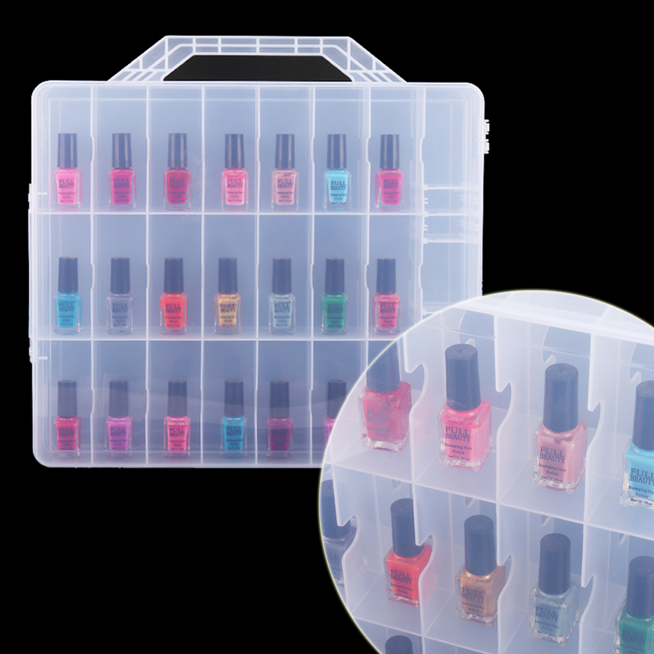 48 Bottles Clear Double Sides Empty Storage Box Portable Nail Polish Display Organizer Rhinestones Gems Nail Storage Case SA1592