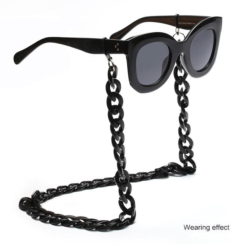 Vintage Leopard Anti-slip Acrylic Sunglasses Chain Womens Men Eyeglass Chains Reading Glasses Chain Eyewear Card Holder Lanyard