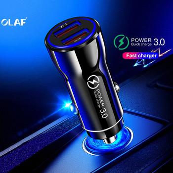 OLAF szybka ładowarka 3 0 USB ładowarka samochodowa do Xiao mi mi 9 Huawei P30 Pro QC3 0 2 USB Port szybka ładowania samochodów ładowarki do telefonów komórkowych tanie i dobre opinie RoHS Car Charger For Phone in Car Qualcomm szybkie ładowanie 3 0 Gniazda zapalniczki samochodowej 12-24 V 2 4A Ładowarka samochodowa