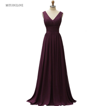 Long Vintage Evening Dresses V Neck Sleeveless Lace Chiffon Purple Floor Length Women Formal Party Gown Wedding Guest