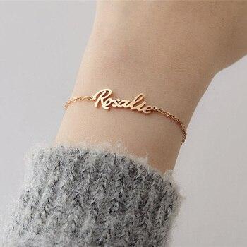 Personalized Name Bracelets For Women Stainless Steel Charms Bracelet Handmade Jewellery Custom BFF Pulseras Mujer