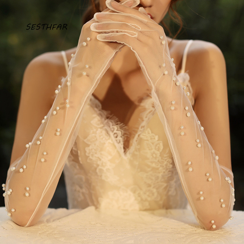 Long Wedding Gloves Bridal Sheer Tulle Gloves DIY  For Bride Ivory Pearls Decoration Finger Bridal Party Gloves ST026