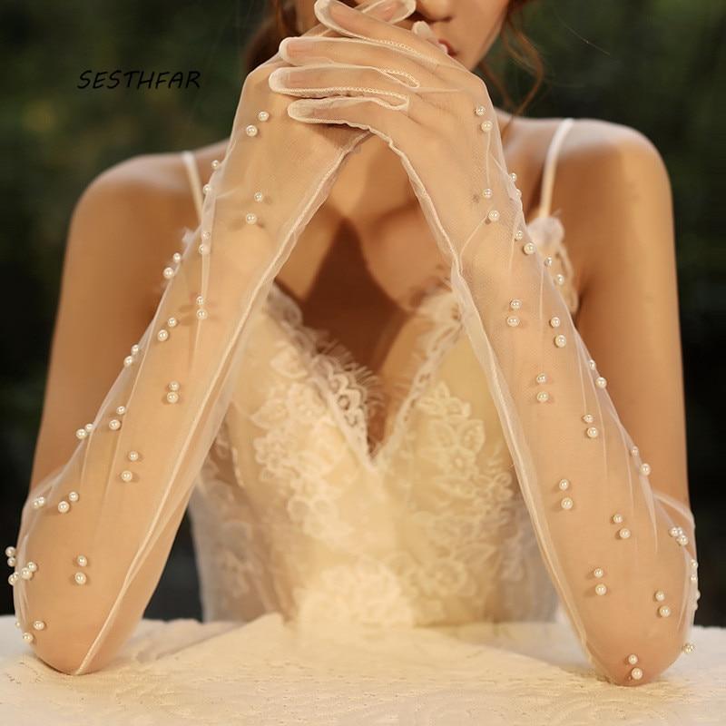 Long Wedding Gloves Bridal Sheer Tulle Gloves DIY  For Bride Ivory Pearls Decoration Finger Bridal Party Gloves ST026