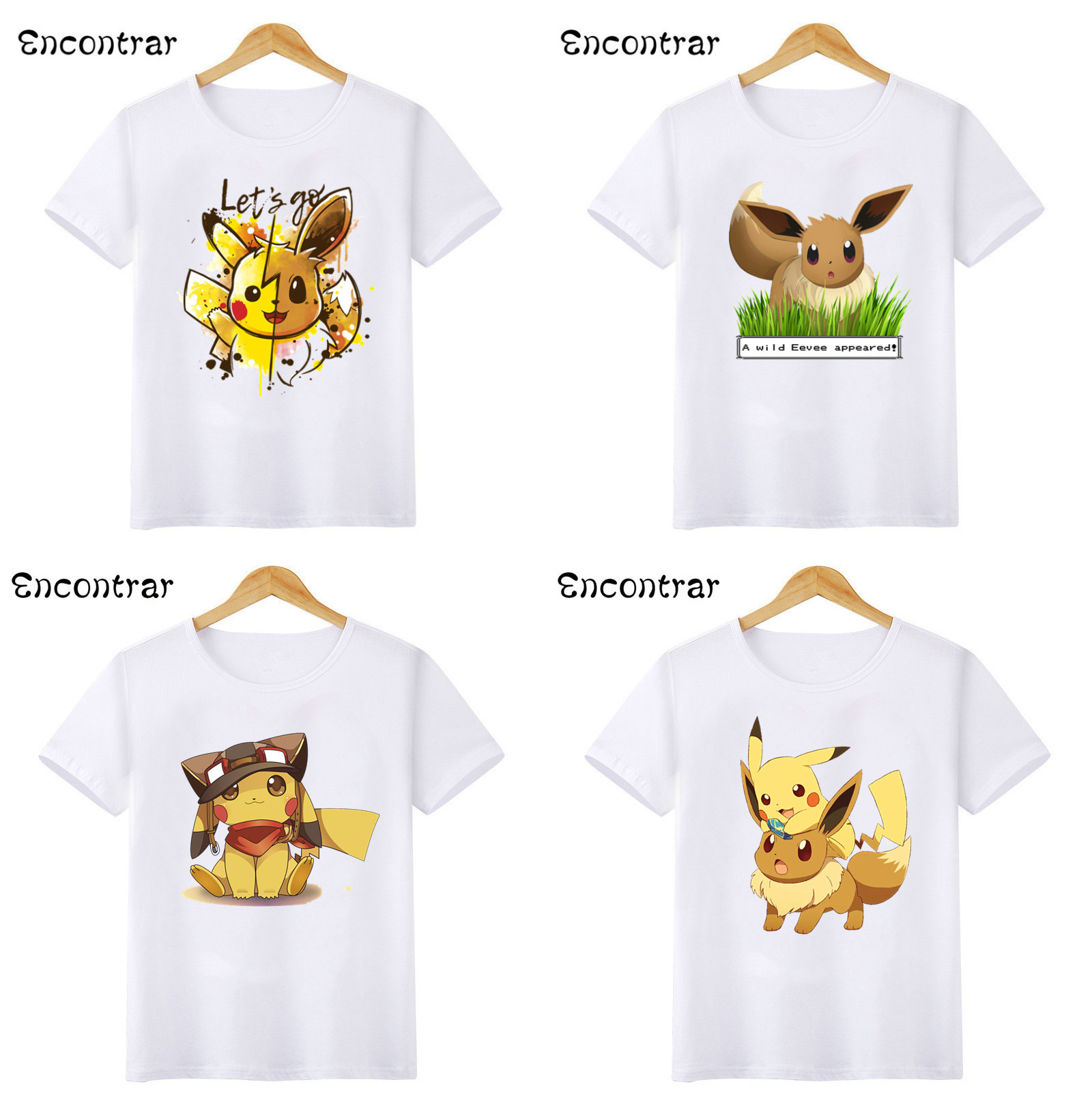Cute Pikachu & Eevee Let's Go Cartoon Kids T-shirts Baby Boys/Girls Pokemon Funny White T Shirt Children Summer Tops,HKP2208