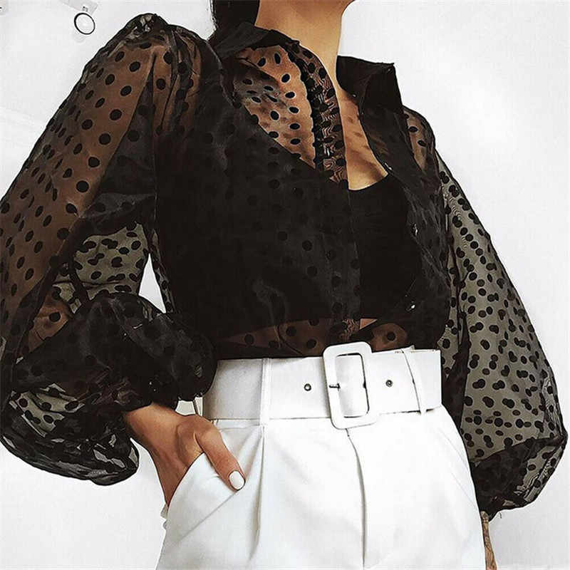 Autumn Polka Dot Printed Shirt Women Casual Office Sexy Vintage Mesh Lace Transparent Long Sleeve Blouses Sexy Shirts Ladies Top