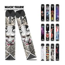 цена на Magic Shark USA Flag Skull Iron Man Venum Evil Batman Star Sky Wrap Skin Vape Case Cover Sticker Pod Film for OVNS SABER
