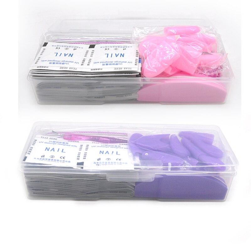 Gel Nail Polish Remover Clip Soak Off Acrylic Cuticle Pusher Nail Polish Remover Wipes Acetone Nail File Manicure Art Set Tools