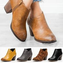 Shoes Women Nis-Boots Thick Heel Pointed-Toe Zapatos-De-Mujer Zipper Ankle Winter Outside