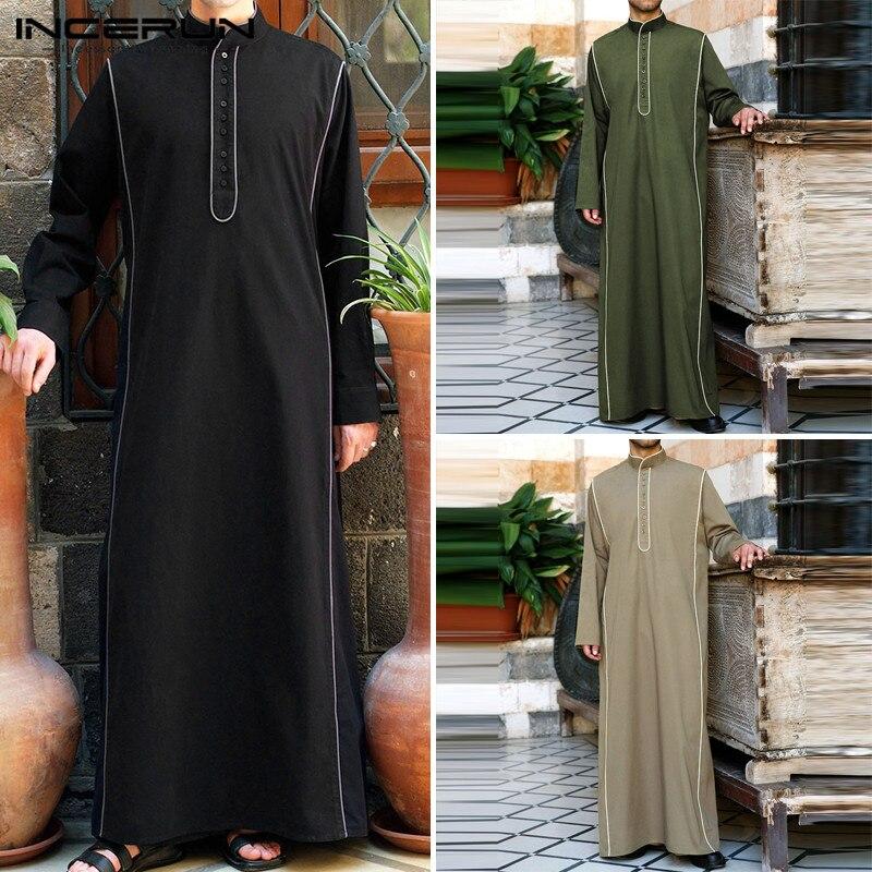 INCERUN Muslim Robe Dressing Mens Saudi Arab Long Sleeve Solid Jubba Thobe Kaftan Long Islamic Jubba Thobe Men Clothing Hip-hop