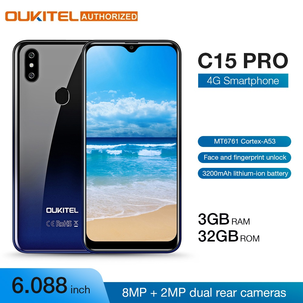 OUKITEL C15 Pro 3GB 32GB 6.088'' 19:9 Android 9.0 Pie MT6761 Waterdrop Smartphone Fingerprint Face ID 5G WiFi 4G Mobile Phone