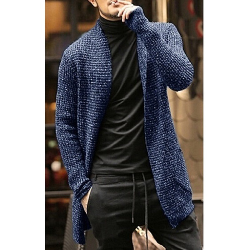 Men's Sweaters Long-Sleeved Cardigan Knit Male Clothing Fashion Casual Solid Thick Winter Warm Open Front Shawl Collar Longline