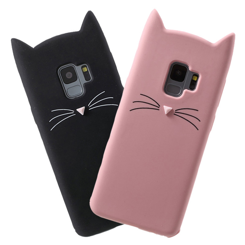Cute 3D Cartoon Beard Cat <font><b>Silicone</b></font> Case For <font><b>Samsung</b></font> Galaxy S10 S9 S8 <font><b>Plus</b></font> S10e S6 S7 Edge Note 5 8 9 J4 <font><b>J6</b></font> A6 <font><b>Plus</b></font> A7 <font><b>2018</b></font> <font><b>Coque</b></font> image