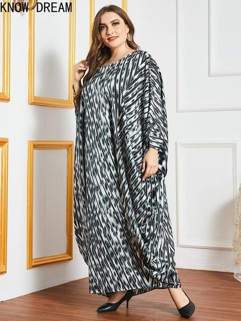 KNOW DREAM Plus Size Dress Large Size Oversized Loose Printed Bat Long Sleeve Robe Muslim Women Dress Woman Dress 3