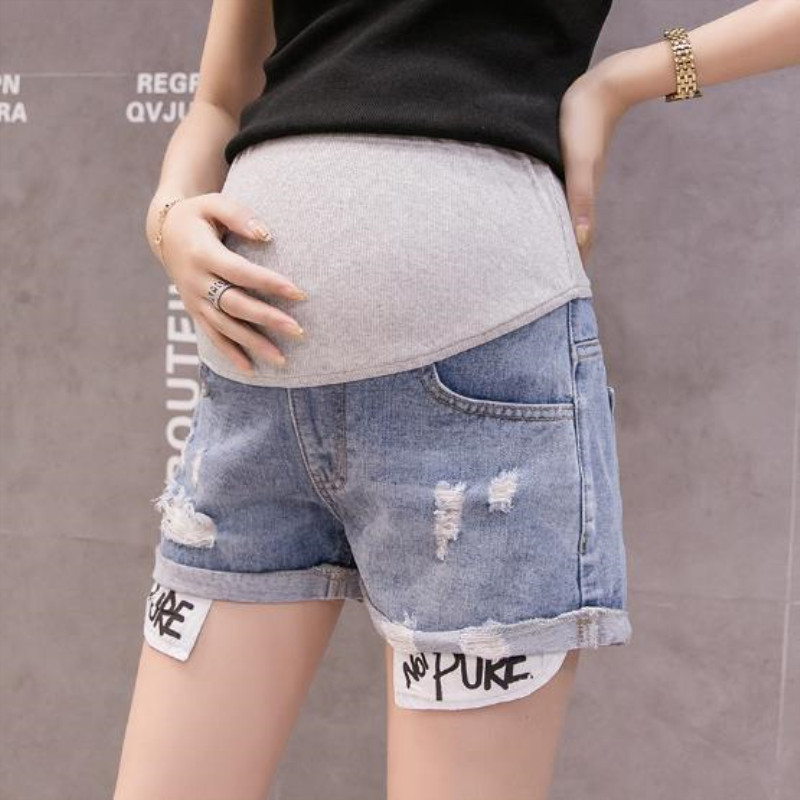 Fashion pregnant denim shorts women summer personality jeans loose comfortable maternal stomach lift pants in Shorts from Mother Kids