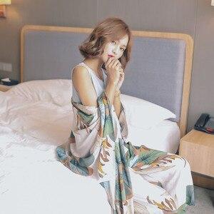 Image 4 - New Autumn Women Pajamas Cardigan+Vest+Pants+Shorts Satin 4 Pcs Set Floral Printing Sleepwear Elegant Tender Home Clothes