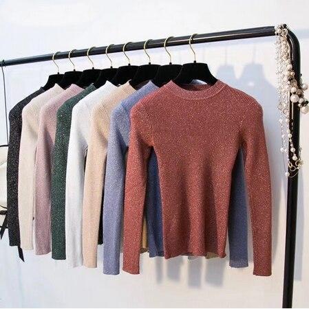 SAGACE Womens 스웨터 2020 겨울 반짝 이는 Lurex 가을 겨울 스웨터 긴 소매 풀오버 여성 탑스 기본 스웨터 당겨