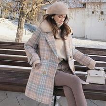 SAGACE Women Coat Outerwear Winter Clothing Fashion Warm Woolen Blends Female Elegant Double Breasted Woolen Coat