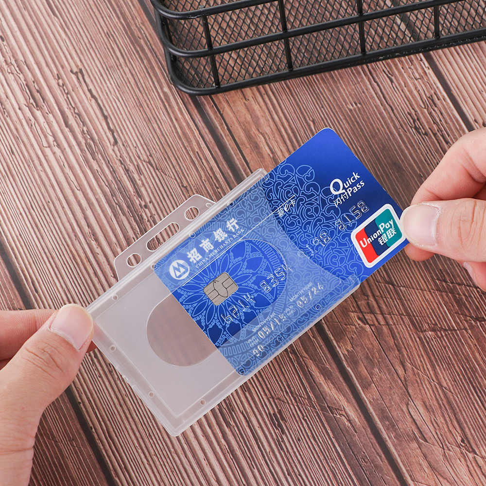 1 PC Plastic Multi-use Hard Plastic Badge Work ID Card Holder Protector Cover Case ID Card Holder Useful Design