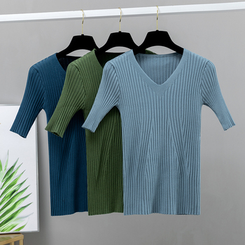 Basic Knit V Neck Women T Shirt Spring Summer Ribbed Cotton Pullover Tops Soft Female Short Sleeves Tshirt Blouses & Shirts