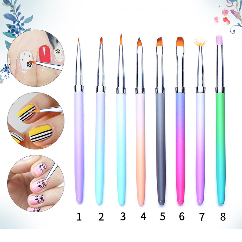 1 Pc Gradient Color Nail Art Design Brush Handle Painting Drawing Liner Brushes Manicure DIY For Nail Art Tools