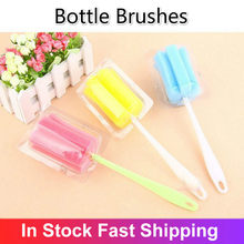 Cleaner Sponge Milk Bottles Brush With Handle Cleaning Utensils Brush Baby Bottle Cleaners Home Kitchen Tool Limpia Biberones(China)