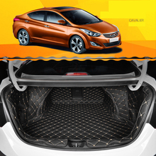 lsrtw2017 for hyundai elantra Avante leather car trunk mat cargo liner 2011 2012 2013 2014 2015 boot rug carpet luggage