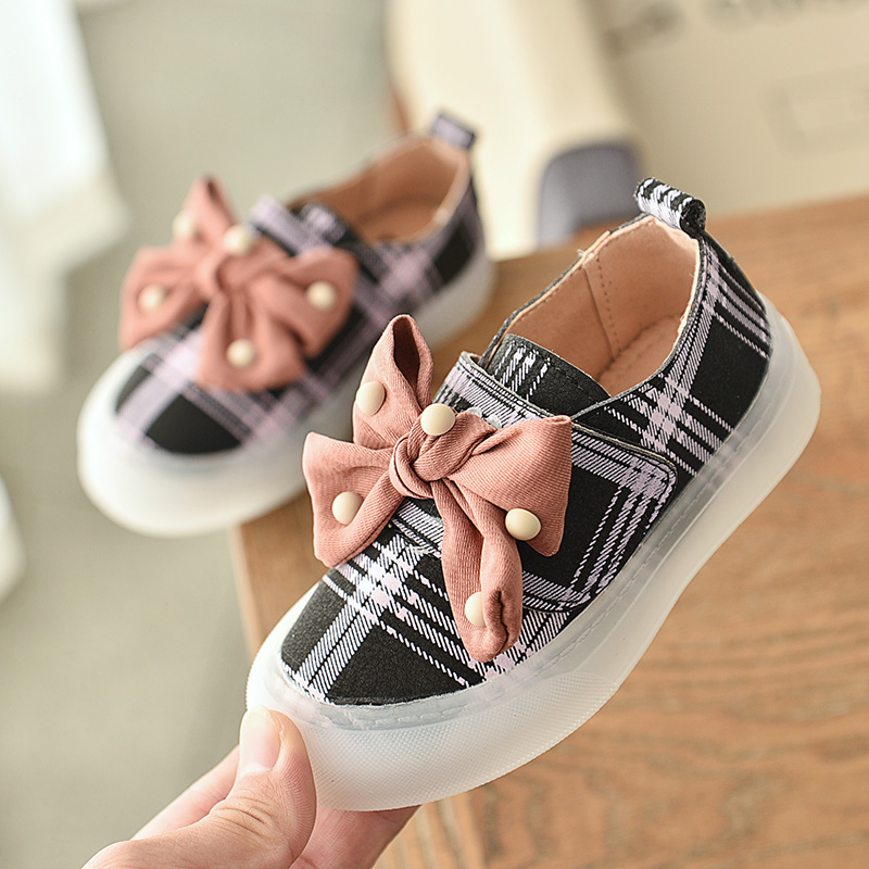 Kids Shoes Children Fashion Sneakers Girls Sport Shoes Baby Anti Slip First Walkers Kid Sneakers Casual Plaid Girls Flat Shoes