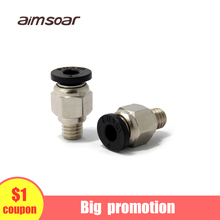 3D Printer Pneumatic Fittings PC4-M6 For 4mm PTFE Tube Connector Coupler quick Pneumatic Connector female 1 4 28unf plastic connector y fittings ptfe for hard tube manufacture