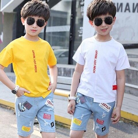 novo verao meninos conjuntos de roupas criancas camiseta manga curta calcas conjunto duas pecas criancas