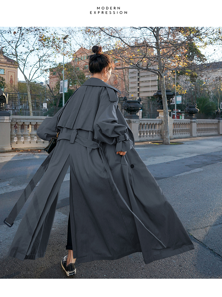H2a2e10a38c1f49dc8e15e4dfa26095b7Z Korean Style Loose Oversized X-Long Women's Trench Coat Double-Breasted Belted Lady Cloak Windbreaker Spring Fall Outerwear Grey