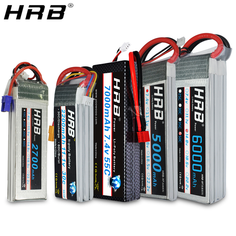 HRB Lipo Battery 2S 3S 4S 5000mah 6000mah 2600mah 2200mah 11.1V 7.4V 14.8V 6S 22.2V XT60 Deans T RC FPV Airplanes Car Boat Parts