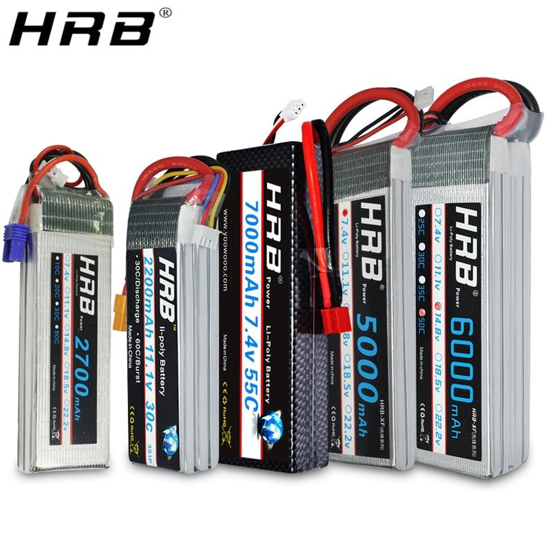 HRB Lipo Battery 2S 3S 4S 5000mah 6000mah 2600mah 2200mah 11.1V 7.4V 14.8V 6S 22.2V XT60 Deans T RC FPV Airplanes Car Boat Parts
