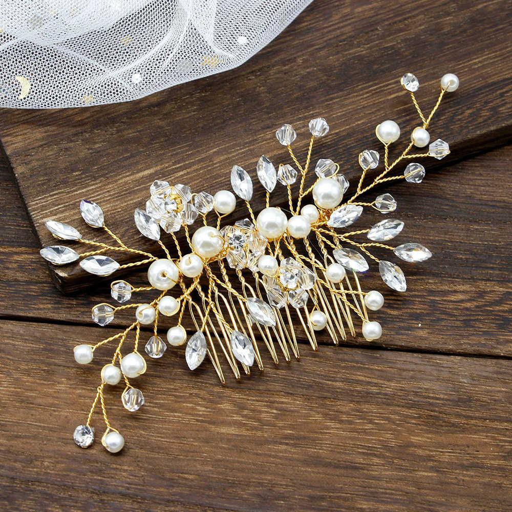 גביש שיער קומבס לנשים שיער תכשיטי פנינת נזר בעבודת יד כלה סרטי ראש שושבינה מסיבת חתונה שיער אביזרי מתנה
